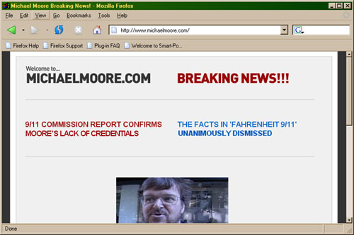 Snapshot of MichaelMoore.com
